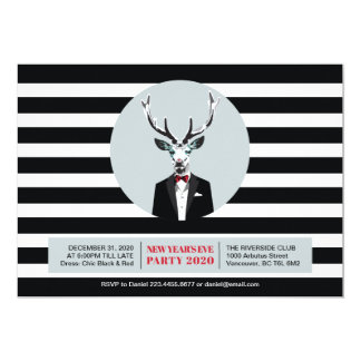 Black & Red New Year's Eve Invitation Card, Deer