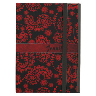 Black & Red Paisley iPad Air Case With Stand