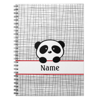 Black Red Personalized Panda Notebook