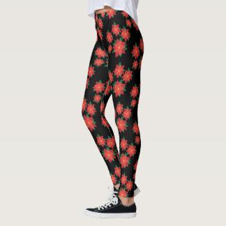 Black Red Poinsettia Christmas Holiday Leggings