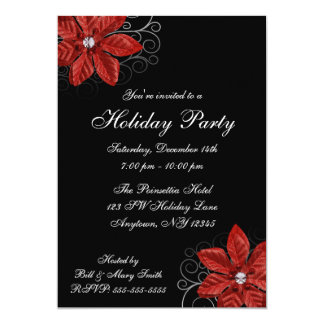 Black Red Poinsettia Swirls Holiday Party Card