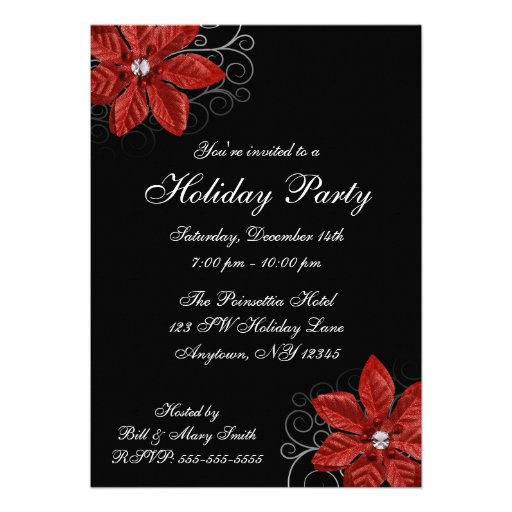 Black Red Poinsettia Swirls Holiday Party Personalized Invite