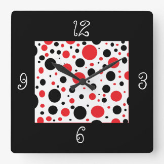Black Red Polka Dot Unique Square Wall Clock