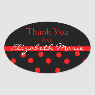 Black & Red Polkadots-Name Oval Sticker