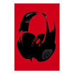 Black Red Pop Art Headphone Poster