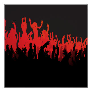 Black Red Rave Dance Music Poster