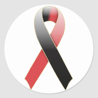 Black & Red Ribbon Awareness Sticker