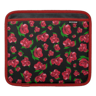 Black & Red Rose Pattern ipad case