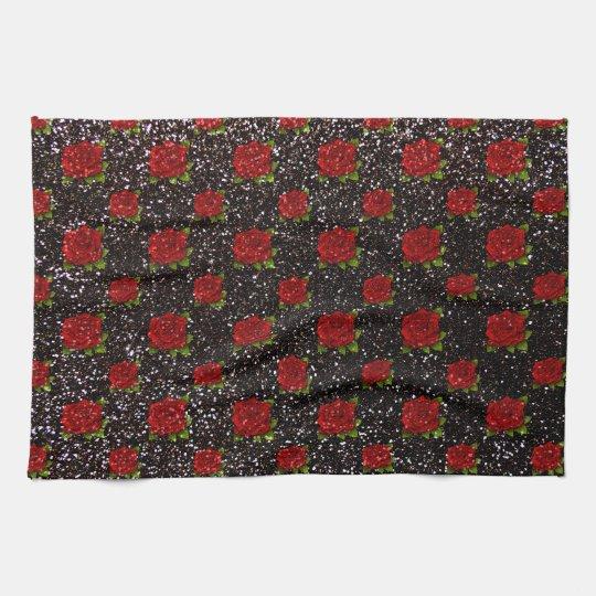 Black red roses glitter kitchen towel