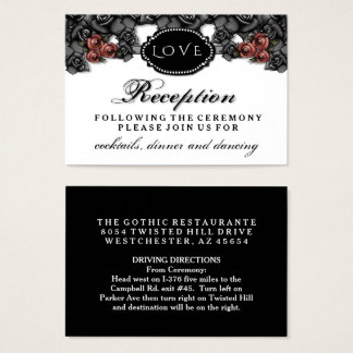 Black Red Roses LOVE Halloween Wedding Reception Business Card