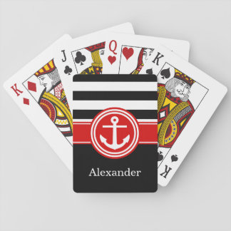 Black Red Rugby Stripe Anchor CB Monogram Playing Cards