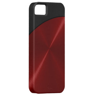Black Red Shiny Steel Metal iPhone 5 Case