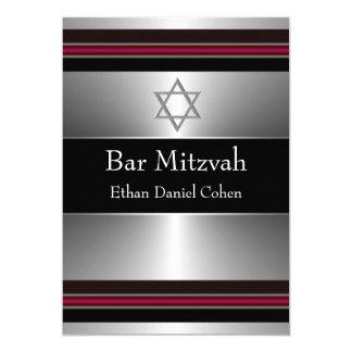 Black Red Silver Star of David Bar Mitzvah Card