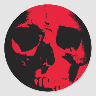Black & Red Skull Classic Round Sticker