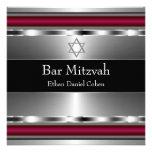 Black Red Star of David Bar Mitzvah