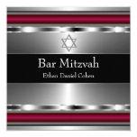 Black Red Star of David Bar Mitzvah 5.25x5.25 Square Paper Invitation Card