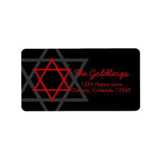 Black Red Star of David Return Address