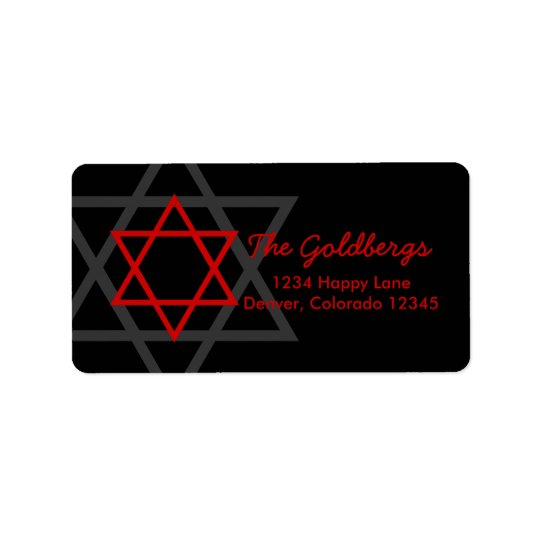 Black Red Star of David Return Address Label