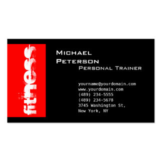 Black Red Striped Fitness Sport Business Card