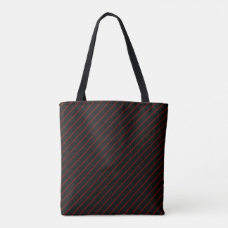 Black & Red Stripes All-Over-Print Tote Bag