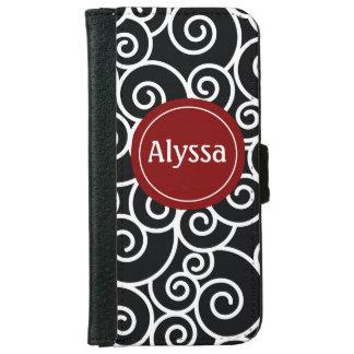 Black Red Swirl Personalized Wallet Case