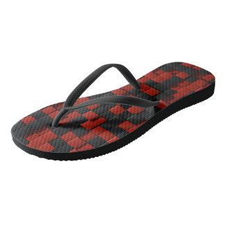 Black red tiles flip flops