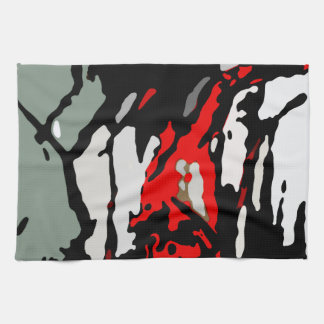 Black Red Turquoise Gray Pattern Kitchen Towel