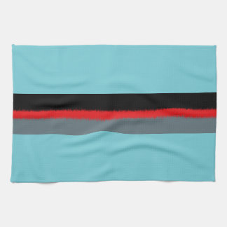 Black Red Turquoise Gray Stripes Kitchen Towel