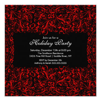 Black Red Vintage Holiday Party Invitation