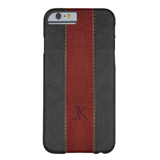 Black & Red Vintage Leather Stripes Barely There iPhone 6 Case
