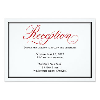 Black Red White Calligraphy Wedding Reception Card