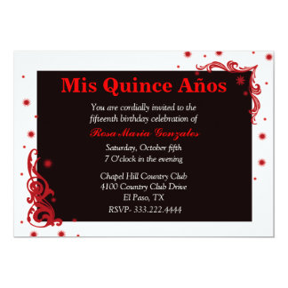 Black, Red, & White Festive Quinceañera Invitation