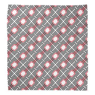 Black Red & White Geometric Bandana