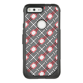 Black Red & White Geometric OtterBox Commuter Google Pixel Case