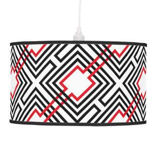 Black Red & White Geometric Pendant Lamp