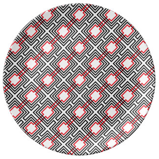 Black Red & White Geometric Plate