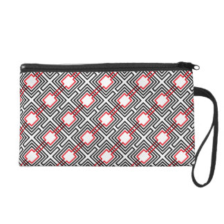 Black Red & White Geometric Wristlet