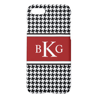 Black Red White Houndstooth Pattern Monogram iPhone 7 Case