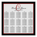 Black Red White Monogram Wedding Seating Chart 150 Posters