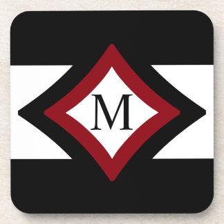 Black, Red & White Stylish Diamond Shaped Monogram Coaster