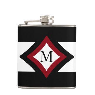Black, Red & White Stylish Diamond Shaped Monogram Hip Flask