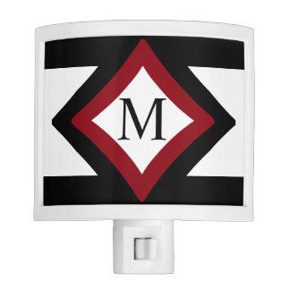 Black, Red & White Stylish Diamond Shaped Monogram Nite Lites