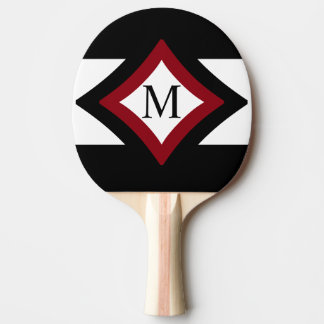 Black, Red & White Stylish Diamond Shaped Monogram Ping Pong Paddle