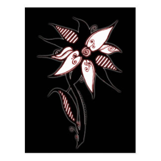 Black Red & White Swirly Flower by Naomi Postcard