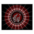Black Red Wolf Tribal Animal Poster