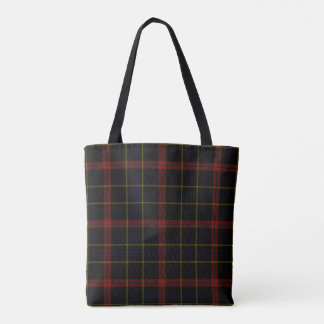 Black Red Yellow Gold Tartan Plaid Tote Bag