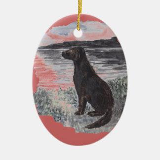 Black Retriever Dog Ceramic Oval Ornament