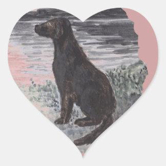 Black Retriever Dog Heart Sticker