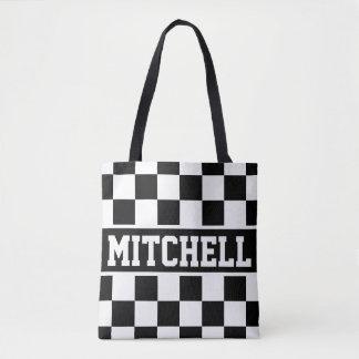 Black Retro Checker Personalized Tote Bag