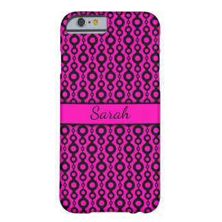 Black Retro Circle Strings Over Neon Hot Pink Barely There iPhone 6 Case